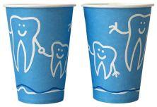 Mundspülbecher Hartpapier Zahndesign 180ml blau (Beycodent)