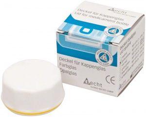 Kappenglasdeckel Simplex-Opalglas  gelber Ring (Alfred Becht)